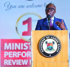 Lagos State Governor, Mr Babajide Sanwo-Olu at the opening ceremony of the First Lagos State Ministerial Performance Review Retreat in Ikeja.