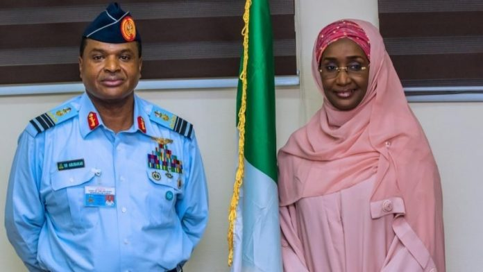 Chief of Air Staff, Air Marshal Sadique Abubakar and Minister of Humanitarian Affairs, Disaster