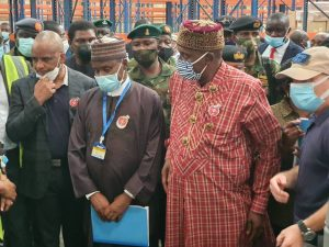 Director-General, Nigerian Maritime Administration and Safety Agency (NIMASA), Dr Bashir Jamoh; Minister of Defence, Maj Gen Bashir Salihi Magashi (rtd); and Minister of Transportation, Rt. Hon. Chibuike Amaechi, on an inspection of maritime security assets in Lagos, November 19, 2020