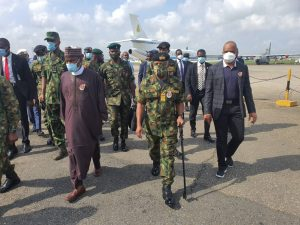 L-R; Minister of Defence, Maj Gen Bashir Salihi Magashi (rtd), Chief of Naval Staff, Vice  Admiral Ibok Ekwe Ibas; and Director-General, Nigerian Maritime Administration and Safety Agency (NIMASA), Dr Bashir Jamoh, during an inspection tour of maritime security assets in Lagos, November 19, 2020.
