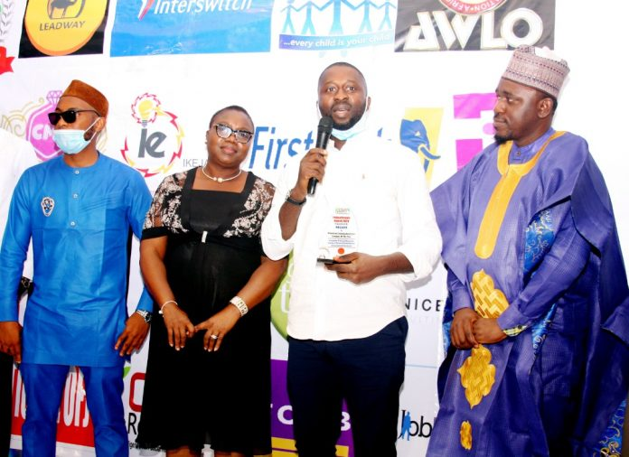 Photo Caption:L-R: ChibuezeNwangwu, Recare Ltd, Theresa Ereme, GM, Operations, Union Bank Nigeria; KaluUmar, Finance Manager and Abass Aderounmu both of Recare Ltd at theCSR Reporters Award of Beauty and Cosmetics Company of the year to Recare Ltd in Lagos recently