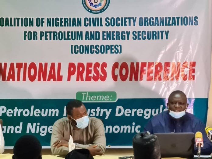 From Right : Timothy Ademola, Convener and Director-General, Coalition of Nigerian Civil Society Organizations for Petroleum and Energy Security [CONCSOPES] with Uzoh George-Tiga, Convener and Executive Director, Igbo Public Affairs Foundation